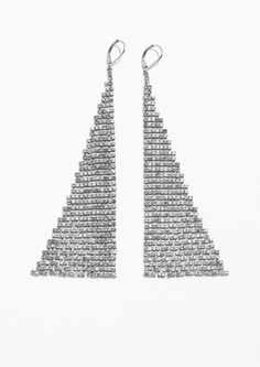 & Other Stories Mirrored Mesh Earrings in Transparent/Silver Christmas 2017, Statement Rings, Women's Accessories, Delicate, Mesh, Bling, Pendant, Earrings, Silver
