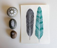 Featured in West Elm - Feather Painting - Watercolor Art - Large Archival Print - 11x14 Tree Ring Feathers. $40.00, via Etsy.