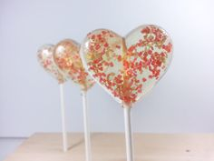 Wedding Favors, Heart Lollipops, Champagne, Hard Candy Lollipops, Party Favors, Candy, Sweet Caroline Confections-Six Lollipops