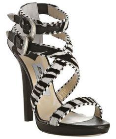 Jimmy Choo     zebra printed pony 'Maddox' platform sandals