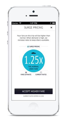 12/2012 Uber v2.0 new UI iOS Surge pricing notification screen