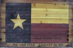 Western Cabin Rustic Decor God Bless Texas Flag Wood Picture Hanging Wall Art