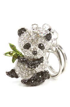 Accessories Boutique Bejeweled Panda Keychain in silver @ Karmaloop $12