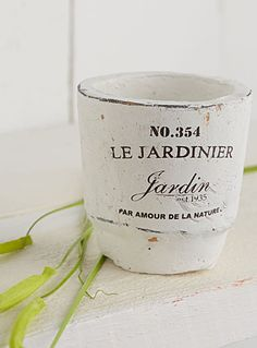 """$4.50 We love the old-fashioned look of these little textured pots with accent lettering on the front   Small size, perfect for preparing young shoots and seedlings or to simply decorate the patio   3"""" x 3"""""""