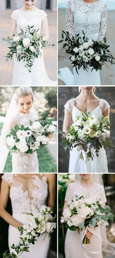 white and greenery bridal wedding bouquets ideas