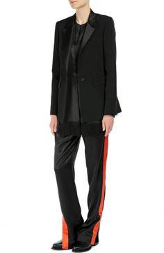 Женский чёрный удлиненный жакет на одной пуговице с шелковыми лацканами GIVENCHY — купить за 128000 руб. в интернет-магазине ЦУМ, арт. 16A/3109/120