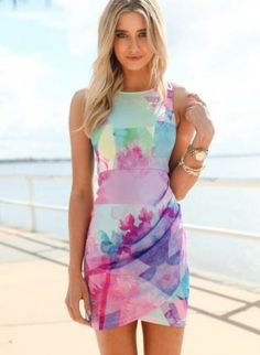 Multi Color Print Sleeveless Mini Dress with Draped Overlay,  Dress, sleeveless dress  print dress, Chic