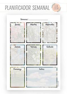 Clear Colours: Imprimible Gratis Planificador Semanal (vertical):