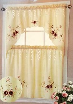 Paradise Kitchen Tiers and Swag 3pc Curtain Set (Burgundy) by Dainty Home. $14.99. 2 pcs tiers: 30 x 36''. 100% polyester. 1 pc swag: 60 x 36''. machine washable. This gorgeous Paradise kitchen curtain set adds a casual whimsy to your home.   Curtains are available in a wide range of color options  The digital images we display have the most accurate color possible. However, due to differences in computer monitors, we cannot be responsible for variations in color between th...