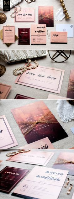 Custom designed blush and burgundy wedding invitation suite, with black and gold accents. Elegant and sultry fall wedding color scheme. Oxblood, gold, blush, rose gold, black.