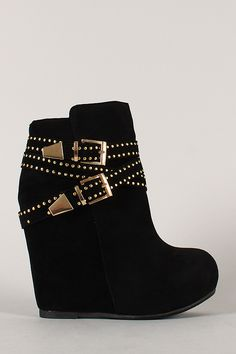 Bamboo Debrah-17 Buckle Studded Round Toe Wedge Bootie Wedge Boots, Wedge Heels, Heeled Boots, Bootie Boots, Ankle Boots, Boot Heels, Boot Socks, High Heels, Wedges Outfit