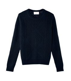 Open work patches crew neck pullover