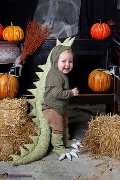 DIY Dragon Baby Costume - this looks like one a child would actually keep on!