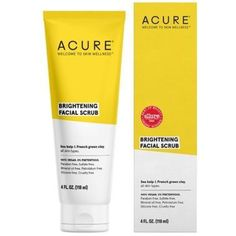 """Acure Brightening Facial Scrub Sea Kelp & French Green Clay - """"Seas"""" the day with natural exfoliation from the ocean! Sea kelp and lemon peel gently exfoliate y Green Clay, Natural Exfoliant, Facial Cleansers, Olive Fruit, Wellness, Cleansing Gel, Facial Scrubs, Travel Size Products, Skin Care Tips"""