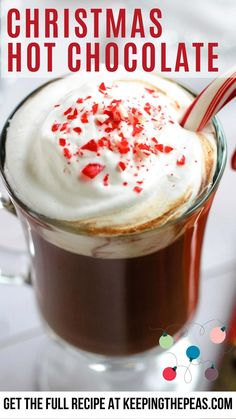 Make your own homemade Christmas hot chocolate with simple natural ingredients. This simple 5 minute and 5 ingredient recipe will become a staple in your kitchen this winter. Thick, rich, and chocolatey this hot chocolate tastes best topped with whipped cream and a candy cane stirrer. Cheap Chocolate, Vegan Hot Chocolate, Christmas Hot Chocolate, Vegan Christmas, Hot Chocolate Recipes, Homemade Christmas, Christmas Recipes, Holiday Recipes, Vegan Whipped Cream