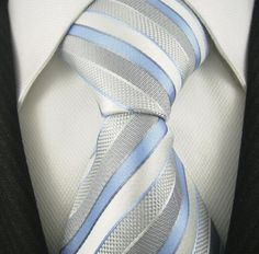 Neckties by Scott Allan, 100% Woven Sky Grey and Blue Tie, Formal Neckties for Weddings