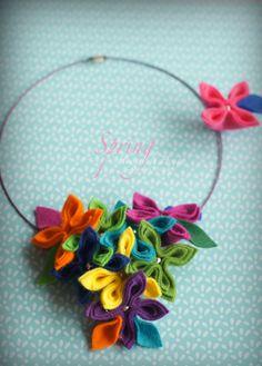 Collares medianos - collar de flores de primavera de color - hecho a mano por FlowerFeltDesign en DaWanda