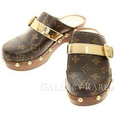 ルイヴィトン サンダル モノグラム キャノピーライン ミュール レディースサイズ35 LOUIS VUITTON 靴 サボ スタッズ クロッグ