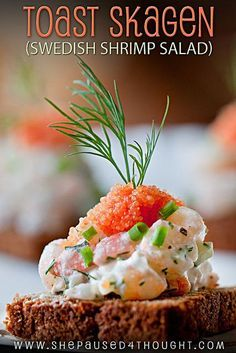 Toast Skagen (Swedish Shrimp Salad) on homemade rye | www.shepaused4thought.com