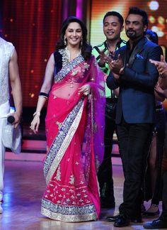 Madhuri Dixit Pink Designer Saree