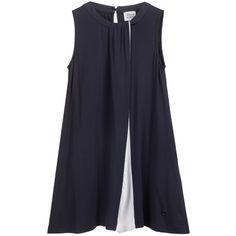 Navy Blue & White Viscose Jersey Dress, Armani, Girl