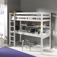 lit mezzanine noah avec bureau et rangements int gr s 90x190cmix promo lit enfant vente unique. Black Bedroom Furniture Sets. Home Design Ideas