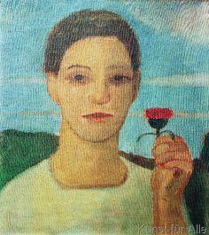 Paula Modersohn-Becker - Porträt der Schwester Herma mit Artischockenblüte in der erhobenen Hand