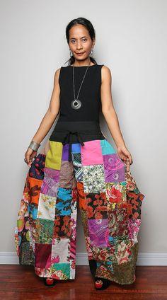 Boho Patchwork pants / Wide Leg Pants / Long Womes by Nuichan, $59.00