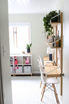 Consider adding a wall desk unit to keep things slim in a small room. Come check out this adorable kid's room before and after! This bunk bed room turns into the perfect spot for kiddos to play, sleep, and do homework! Small Room Design, Kids Room Design, Bedroom Desk, Kids Bedroom, Girls Room Desk, Girl Bedrooms, Bed Room, Master Bedroom, Svalnäs Ikea
