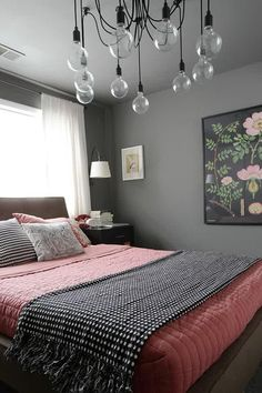 Marvellous Orange Gray Bedroom Design Ideas Plus Buble Pendant Also Gray Wall Paint Large Paddling Bar Plus Bedspread With White Desk Lamp As Well As Floral Artwork Decor Amazing Image Or Picture Of Article With Theme Gray | We Heart It