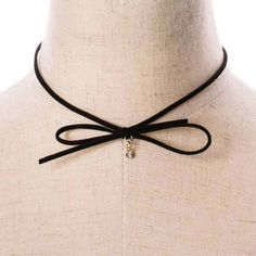 2017New Product Women Black Choker Necklace Wax Rope Faux Suede Leather Bow Rhinestone Bead Gothic Necklaces