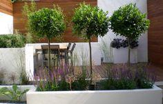 Plantenbak met gras en bomen