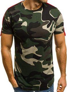 1ec741deb30d OZONEE Mix Herren T-Shirt Camouflage mit Motiv Kurzarm Rundhals Figurbetont  BRY 181121 GRÜN S
