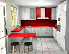 cocinas diseo de cocinas en color rojo THE HOME Pinterest