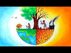 Save Environment Poster Drawing, Save Environment Posters, Save Water Poster Drawing, Environment Painting, World Environment Day, Earth Drawings, Art Drawings For Kids, Drawing For Kids, Save Earth Drawing