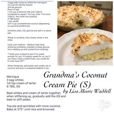 Grandma's Coconut Cream Pie - THM S #trimhealthymama