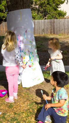 Tree Painting with Toddlers and Preschoolers – Pink Stripey Socks Tree Painting with Toddlers and Preschoolers Tree Painting with Toddlers and Preschoolers Nanny Activities, Nature Activities, Spring Activities, Outside Activities, Infant Activities, Learning Activities, Outdoor Activities For Preschoolers, 5 Year Old Activities, Outdoor Toddler Activities