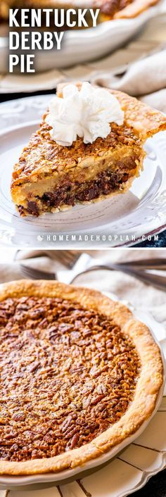 A total southern tradition, this Kentucky Derby pie is a creamy mix of chocolate chips and pecans. Whether you& watching the Derby or just need a crunchy chocolate fix, it& a must-make whenever the weather warms up! Tart Recipes, Best Dessert Recipes, Easy Desserts, Sweet Recipes, Baking Recipes, Delicious Desserts, Baking Pies, Awesome Desserts, Recipes Dinner