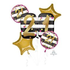 An elegant age specific bouquet consisting of: 1 x large 18 foil balloon 2 x 45cm printed foil balloons 2 x 45cm Gold Star Balloons Matching ribbon Balloon Gift, Gold Balloons, Birthday Balloons, Gold Stars, Pink And Gold, Bouquet, Ribbon, Age, Elegant