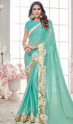 Buy Aqua Blue Colored Designer Partywear Lycra Net Saree at Rs. Get latest Printed saree at Peachmode. Lehenga Saree, Net Saree, Saree Dress, Saree Blouse, Aqua Blue Color, Modern Saree, Indian Sarees Online, Designer Wear, Designer Sarees