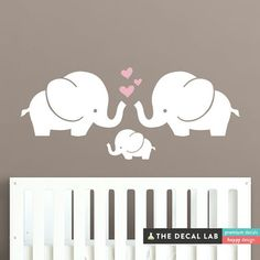 Cute Elephants Wall Decal Elephant Family Bany by DecalLab