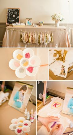 Pink and Gold baby shower for twin girls  cute idea...onesie painting station