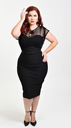 Stop Staring! Plus Size 1940s Style Black Swiss Dot Mesh Twilight Wiggle Dress