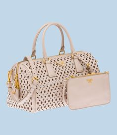 Prada #PERFORATED SAFFIANO PATENT LEATHER TOP-HANDLE BAG  # DOUBLE HANDLE