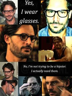 Joe Manganiello - Yes, I wear glasses. No, I'm not trying to be a hipster. Hot Men, Sexy Men, Hot Guys, True Blood Werewolf, Joe Manganiello True Blood, Intelligence Is Sexy, Hollywood Scenes, Smart Men, Big Bad Wolf
