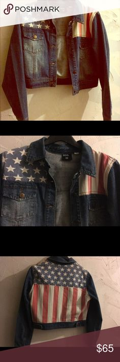 Urban Outfitters Denim American-Flag Jacket Excellent condition. Only worn once. Super comfy and great wardrobe addition. Full American flag on back. Urban Outfitters Jackets & Coats Jean Jackets