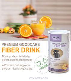 Oldható és oldhatatlan rostanyag kombinációja, amit gabonából és útifű maghéjból nyernek. Egy napi adag (kb. 20 g por) 10 g rostanyagot tartalmaz, ez fedezi a napi rostanyag-szükséglet 1/3-át.  A Premium Goodcare Fiber Drink egy növényi alapú, telítettség érzést adó termék, ami használható:  - az étkezés utáni (posztprandiális) vércukorszint javítására a cukorbetegség kezelésében - a székrekedés megakadályozására vagy enyhítésére  Kiszerelés: 300 g / 60 adag San Pellegrino, Beverages, Drinks, Soda, Fiber, Canning, Drinking, Beverage, Soft Drink