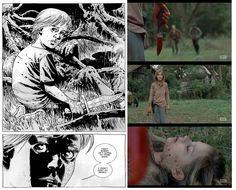 The Walking Dead comics vs show. So happy they brought this scene in the show!----> I also liked how they did some back story with Lizzy and Mika so the scene was more dramatic Walking Dead Comic Book, Walking Dead Show, Walking Dead Comics, Fear The Walking Dead, Comic Book Covers, Comic Books, Twd Comics, Talking To The Dead, Sad Day