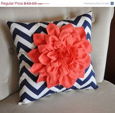 NEW YEARS SALE Coral Dahlia on Navy and White Zigzag by bedbuggs, $38.70