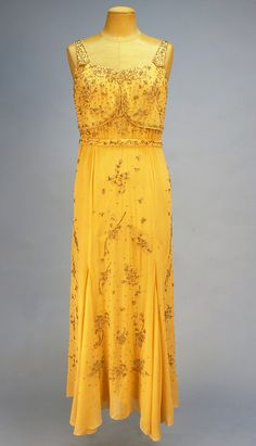 Beaded pale mustard georgette evening gown  1929